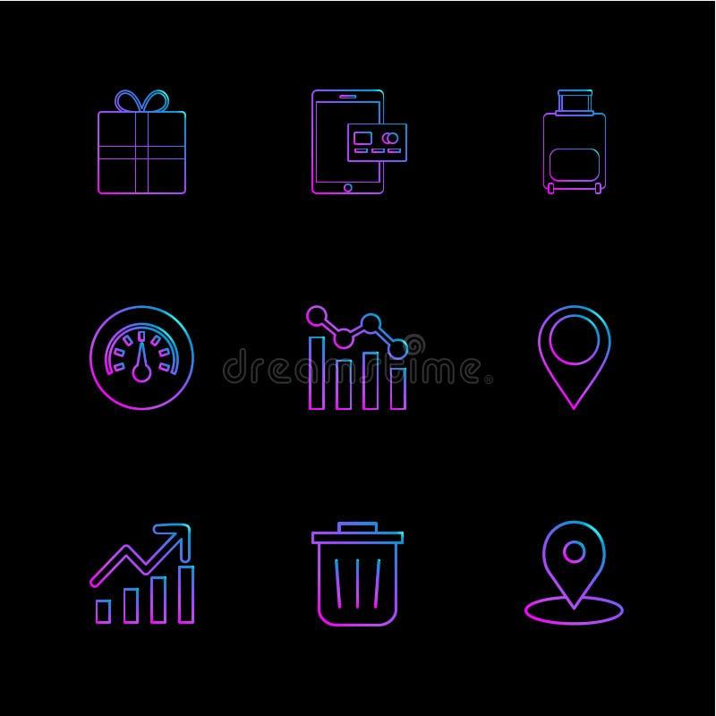 giftbox, ipad, Kompass, Navigationen, Diagramm, Tasche, ENV-Ikonen stock abbildung