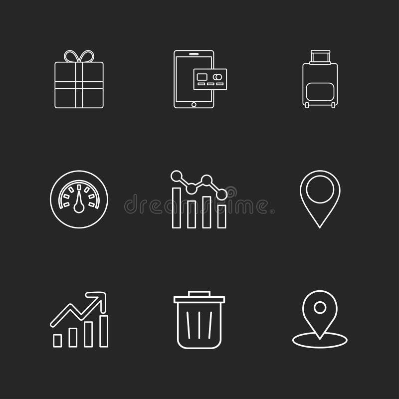 giftbox, ipad, Kompass, Navigationen, Diagramm, Tasche, ENV-Ikonen lizenzfreie abbildung