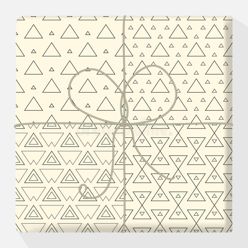 Set of repeating and seamless patterns on a gift box. Mock up vector variation. Modern stylish geometric texture of monochrome sha royalty free illustration