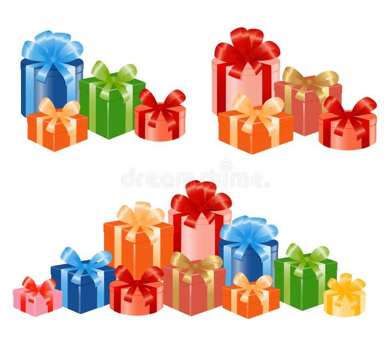 Giftboxes com fita. ilustração stock