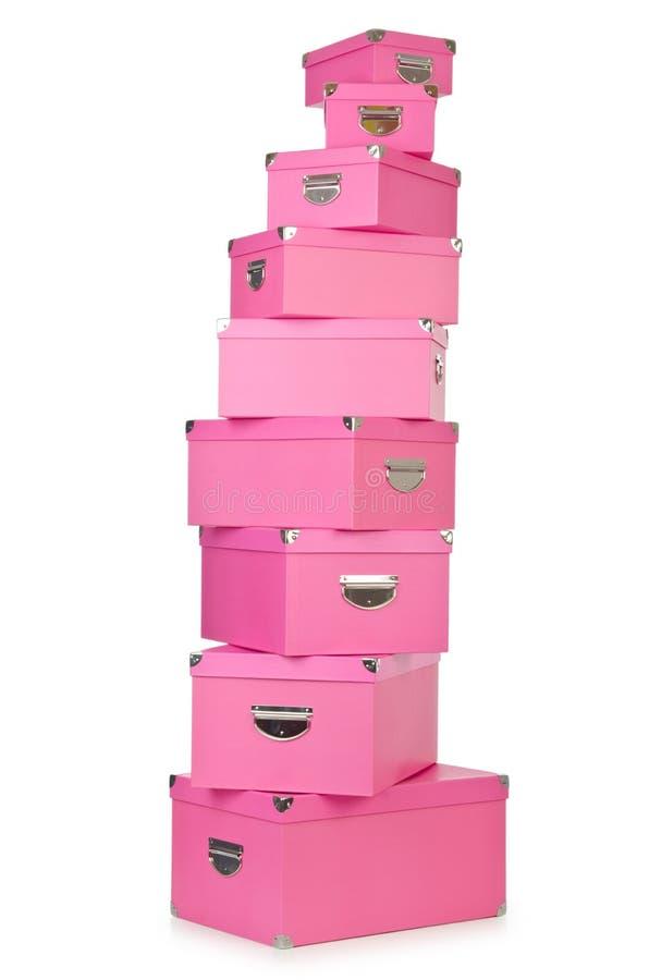 Giftboxes cor-de-rosa fotografia de stock royalty free