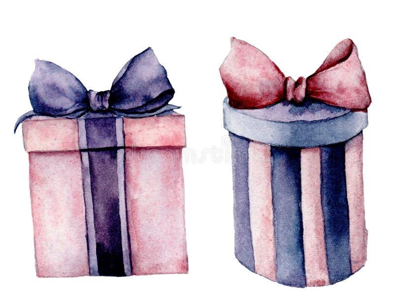 Giftboxes de la acuarela fijados Caja de regalo rosada y violeta pintada a mano con la cinta aislada en el fondo blanco holiday ilustración del vector