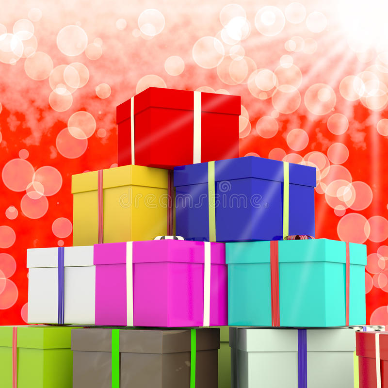 Giftboxes multicolore con la priorità bassa di Bokeh royalty illustrazione gratis