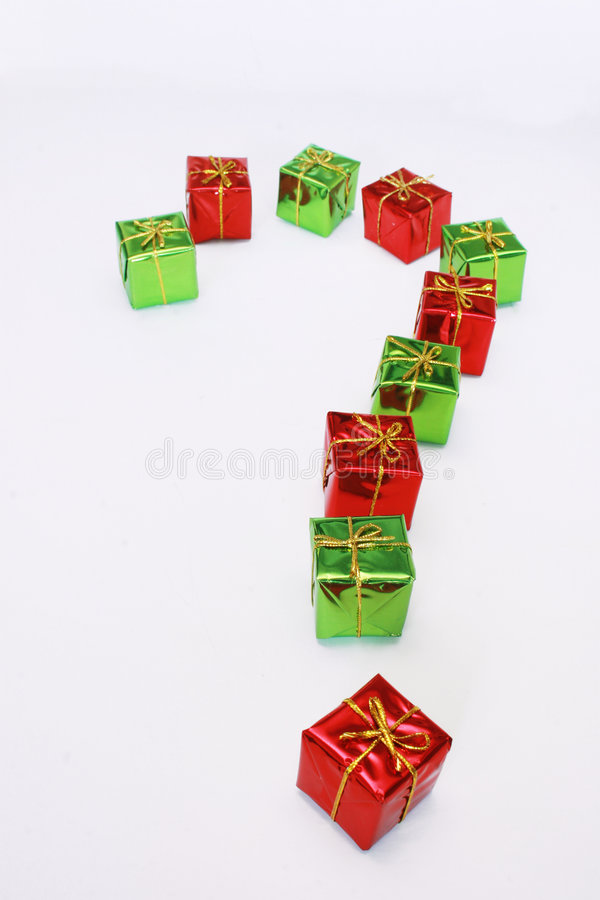 Giftboxes in question mark stock photo