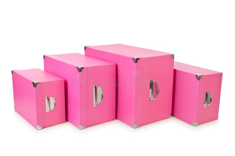 Giftboxes rosados en blanco fotos de archivo