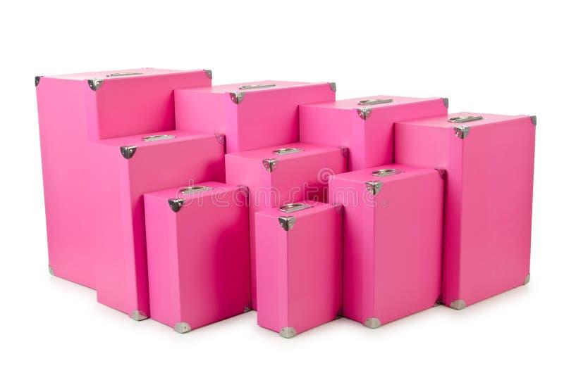 Giftboxes rosados en blanco fotografía de archivo libre de regalías