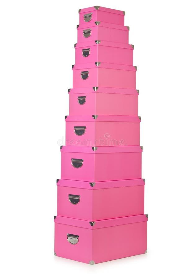 Giftboxes rosados en blanco fotografía de archivo