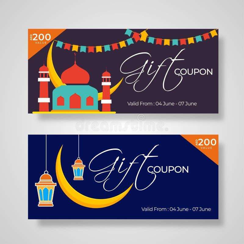 Giftcoupon met illustratie van moskee, toenemende maan, lantaarns en beste kortingsaanbieding die wordt geplaatst voor Islamitisc stock illustratie