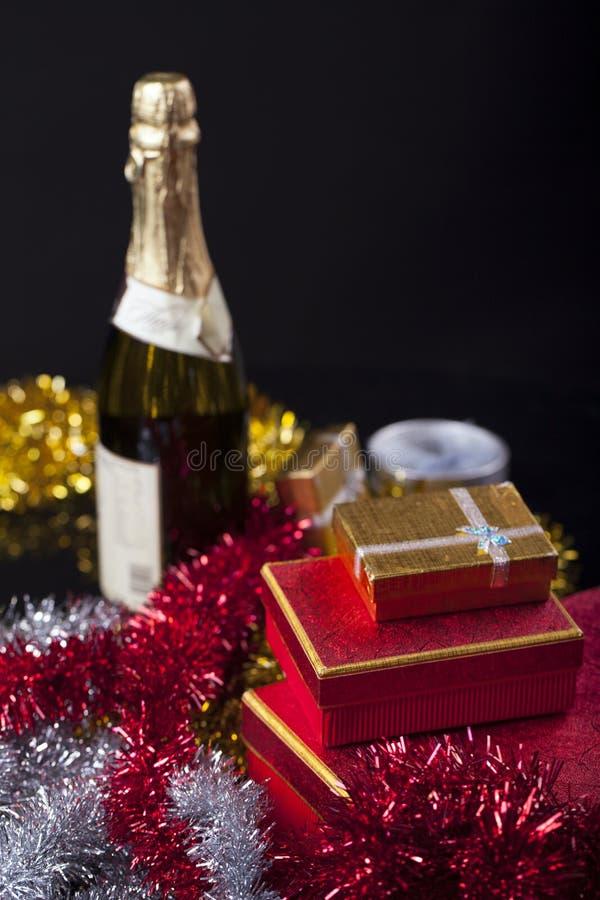 Giftdoos en Champagne stock afbeelding