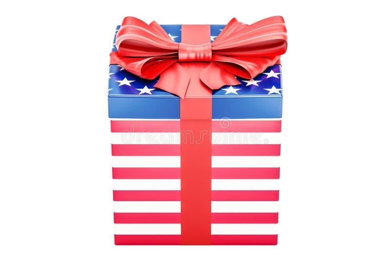 Giftdoos met vlag van de V.S., vakantieconcept het 3d teruggeven stock illustratie