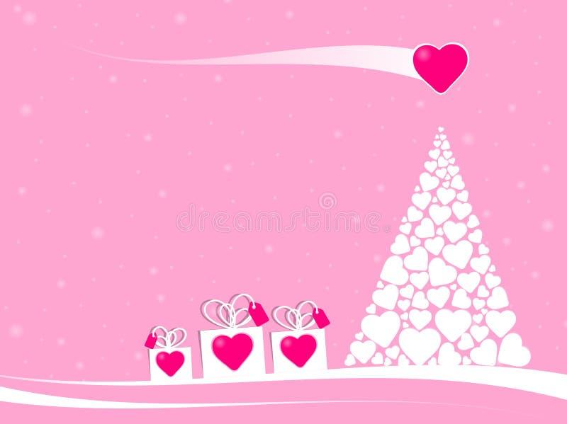 Giftdozen in een scène van fairytalekerstmis met liefdekomeet stock illustratie