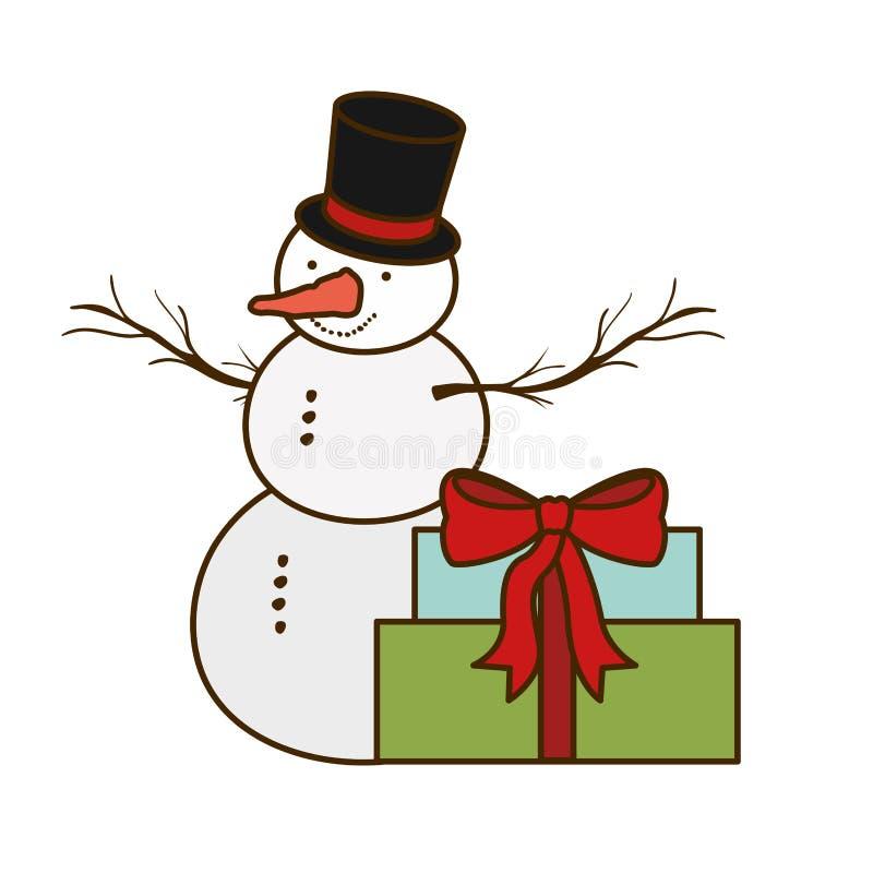 Giftdozen en sneeuwmens ge?soleerd pictogram stock illustratie