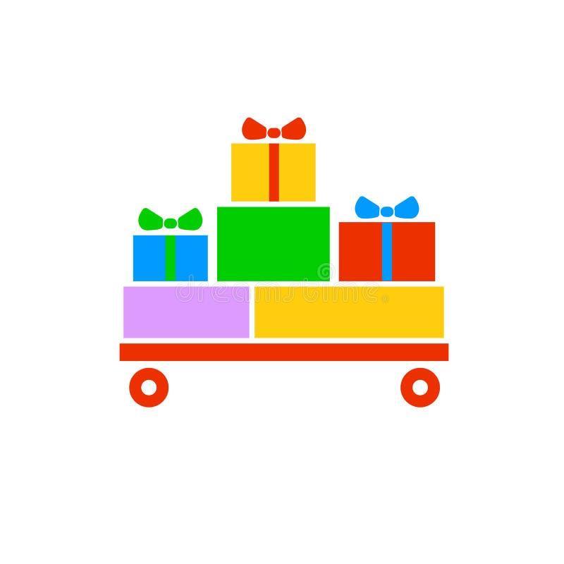 Giftdozen, giften op de rode kar Verpakt kleurrijk Verkoop, het winkelen concept Inzameling voor verjaardag, Kerstmis vector illustratie
