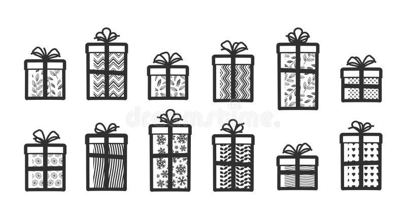Giften, vastgestelde pictogrammen Verrassing, het verpakken, het symbool van de giftdoos Vector illustratie stock illustratie