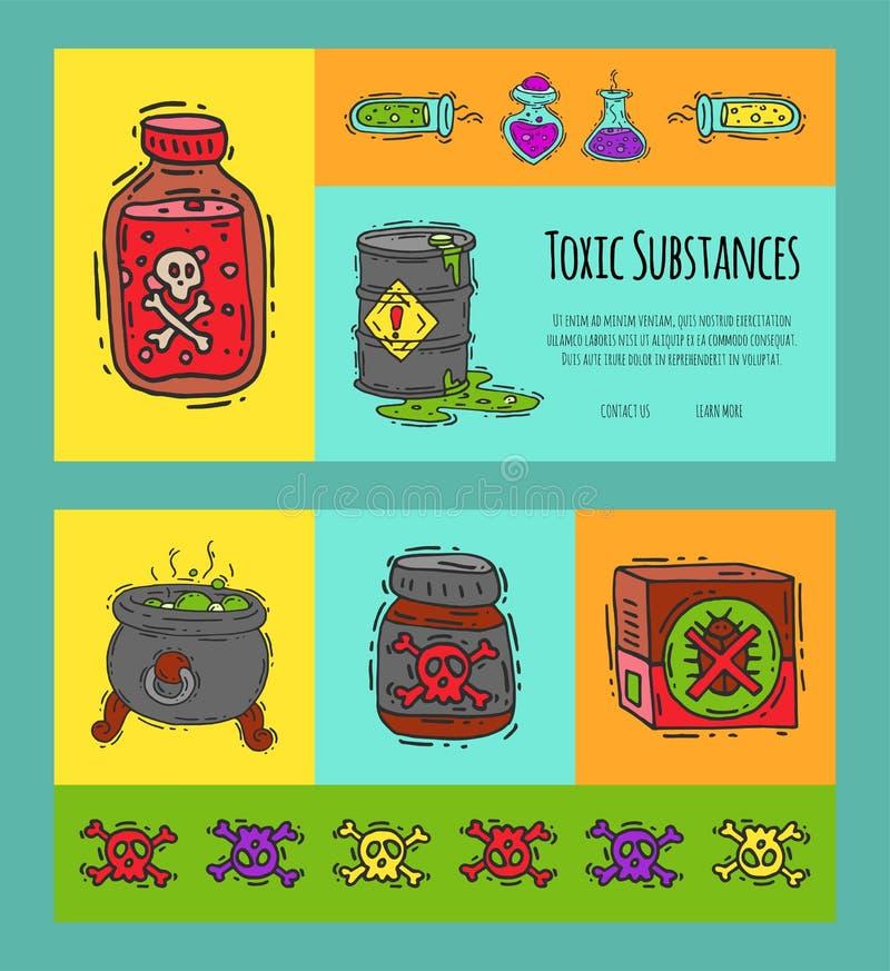 Giftige de banners vectorillustratie van het de industrieconcept Verschillend vat voor vloeistoffenolie, biofuel, chemisch explos vector illustratie