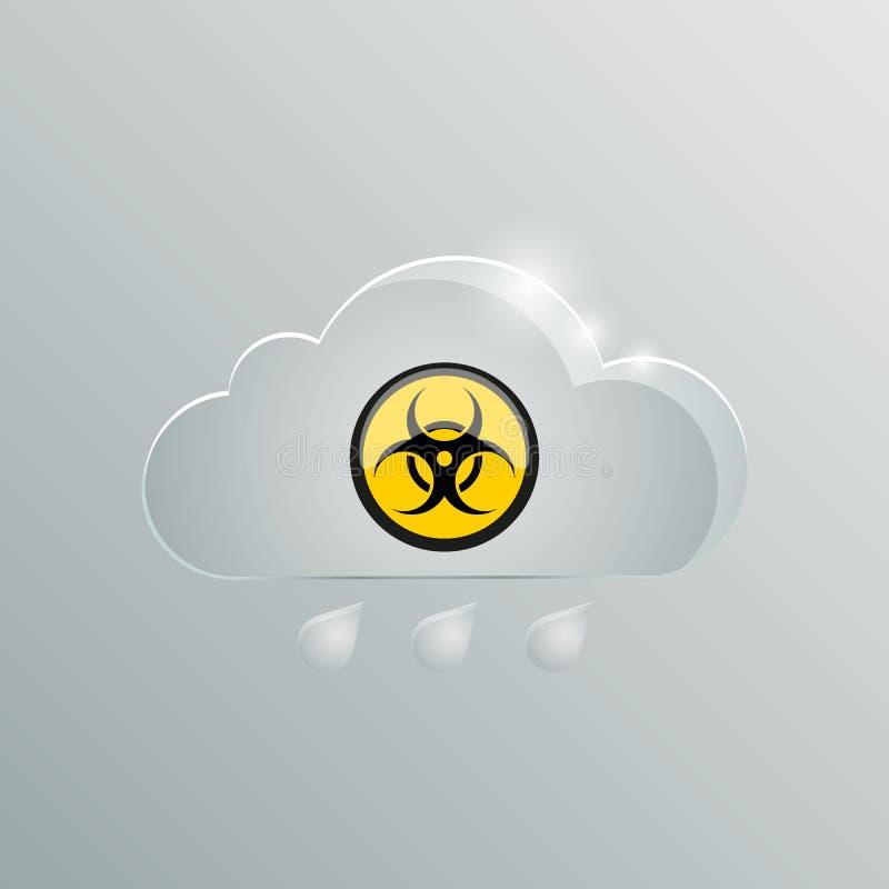 Giftige gaswolk met een teken van biologisch gevaar vector illustratie