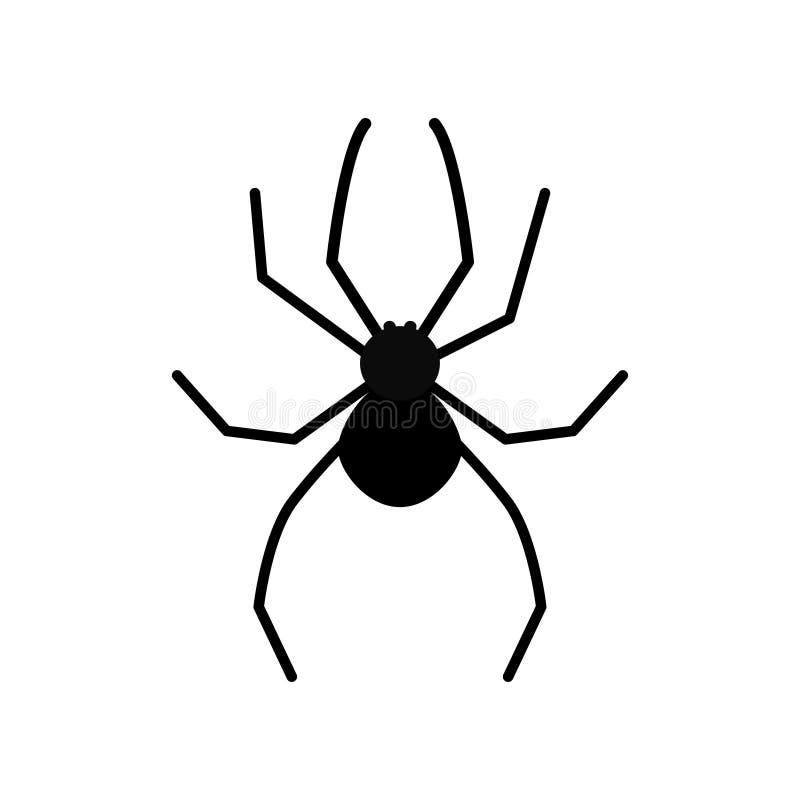 Giftigt kryp för gullig kontur för tecknad filmsvartspindel vektor illustrationer