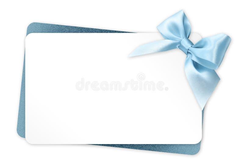 Giftkaart met blauwe die lintboog op wit wordt geïsoleerd royalty-vrije illustratie