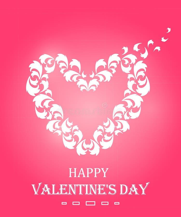 Giftkaart met een hart De gelukkige Dag van de Valentijnskaart `s Het elegante Element van het Ontwerp royalty-vrije illustratie