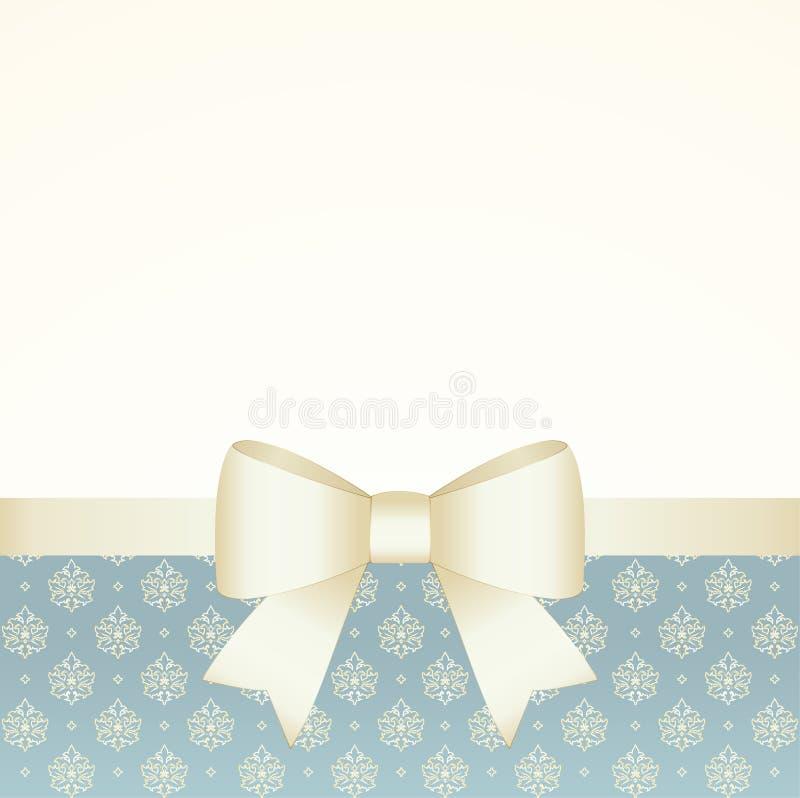 Giftkaart met Gouden Lint en een Boog Uitnodiging - vectorbeeld royalty-vrije illustratie