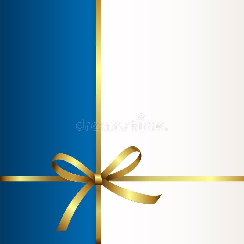 Giftkaart met Gouden Lint en een Boog Uitnodiging - vectorbeeld vector illustratie