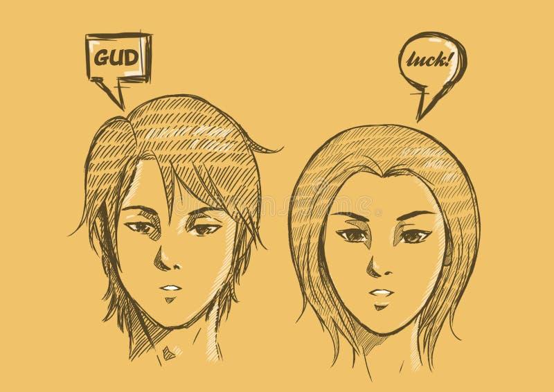 Giftkaart voor paar met Schetsmatige Illustratie Paarbehang stock afbeeldingen