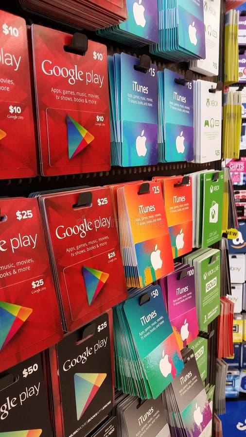 Giftkaarten: iTunes, XBOX, Google-spel royalty-vrije stock fotografie