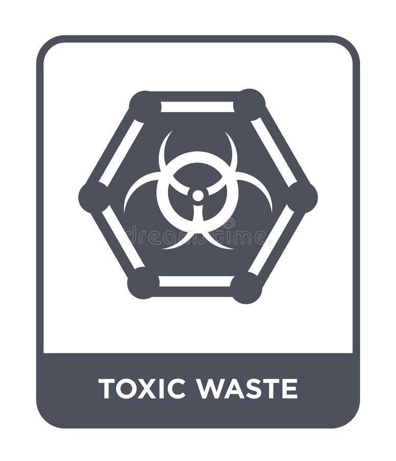 giftlig förlorad symbol i moderiktig designstil Symbol för giftlig avfalls som isoleras på vit bakgrund giftlig förlorad modern v royaltyfri illustrationer