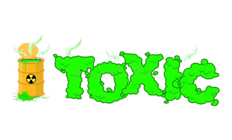 Giftlig text Giftiga gräsplandunster Öppna trumman med farlig li royaltyfri illustrationer