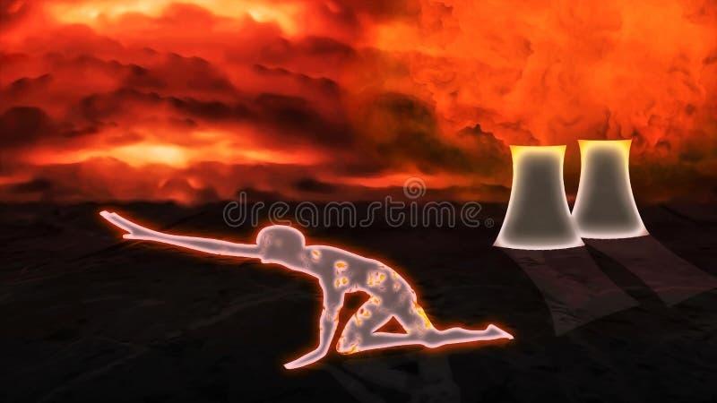 Giftligt moln som kommer från kärnreaktorn och radioaktivt dö för person vektor illustrationer