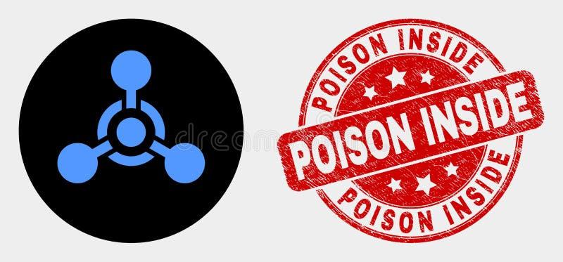 Giftligt nervmedel Icon för vektor och Grungegift inom stämpel stock illustrationer