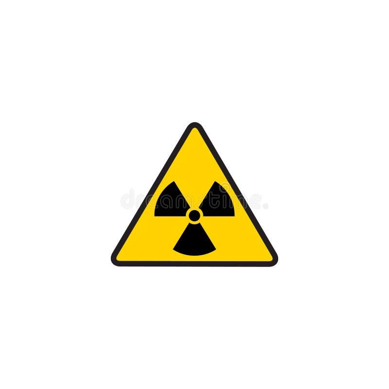 Giftligt tecken för vektor, symbol Varnande radioaktiv zon i triangelsymbolen som isoleras på vit bakgrund radioactivity vektor illustrationer