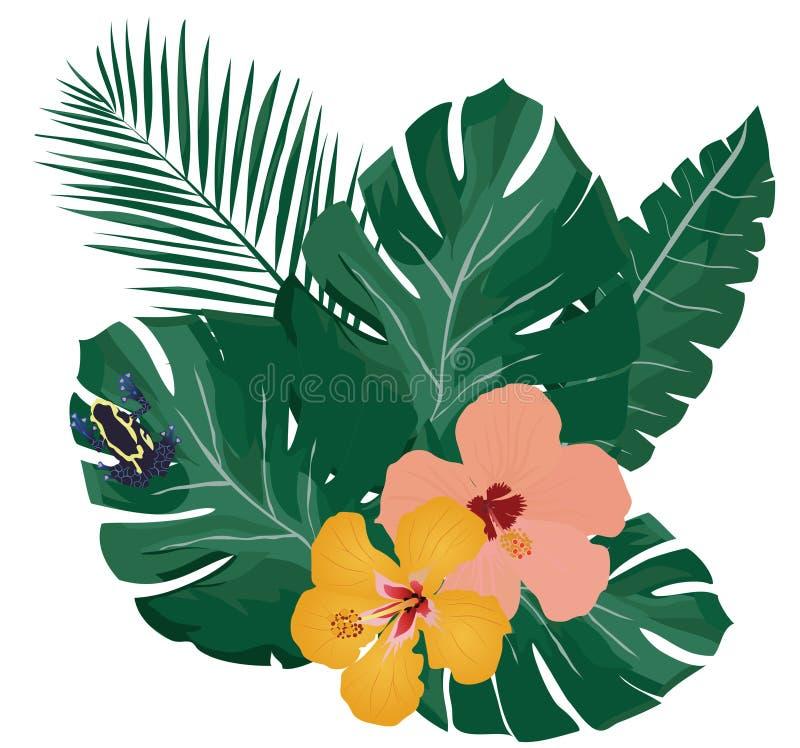 Giftpilgroda på palmträdsidor royaltyfri illustrationer