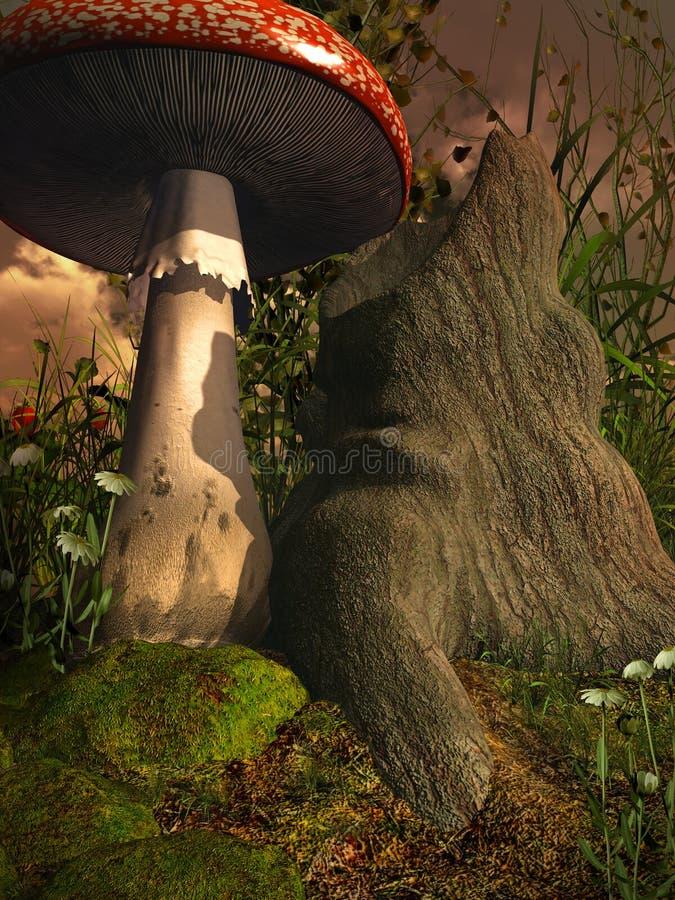 Giftpilz Durch Einen Alten Baum Stock Abbildung