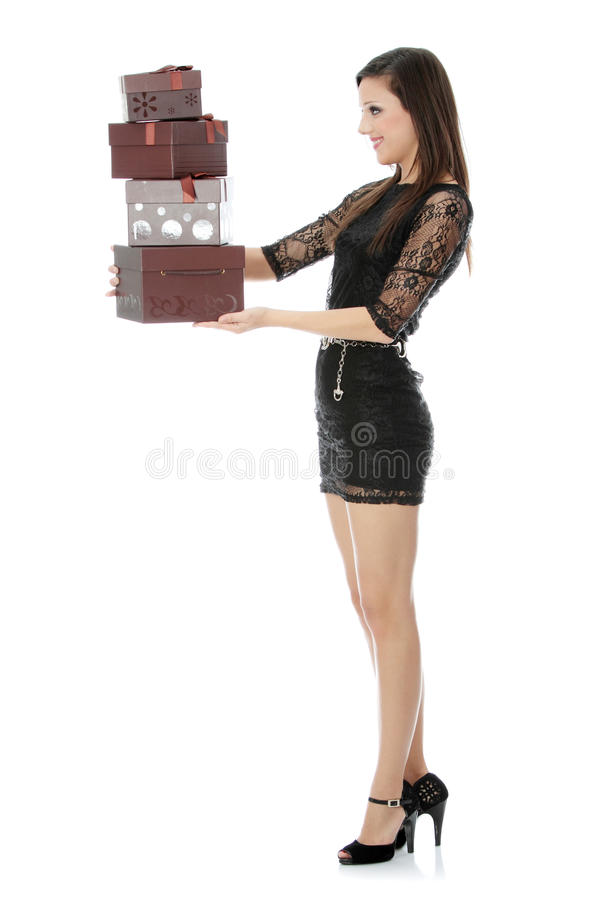 Gifts. Woman with gifts , isolated on white background stock photos