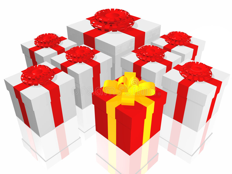 Gifts in 3d over a white background royalty free illustration