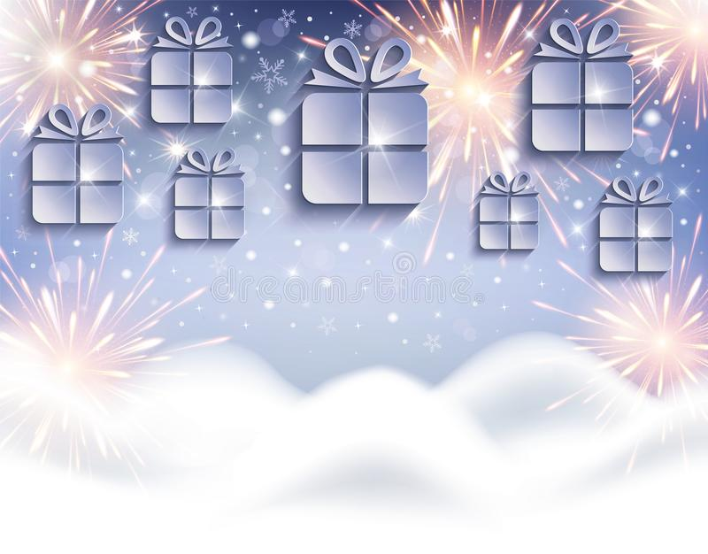 Gifts as Christmas cards with snowdrift and fireworks stock image