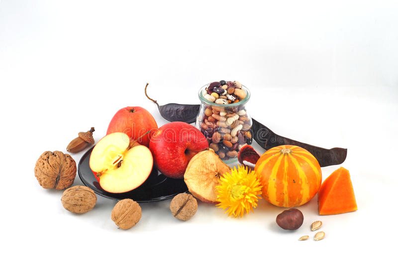 Gifts of autumn. Apples and pumpkin royalty free stock photo