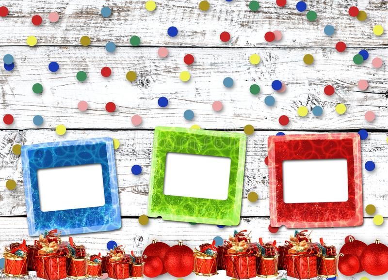 Gifts and balls under Christmas tree on abstract background royalty free stock photo