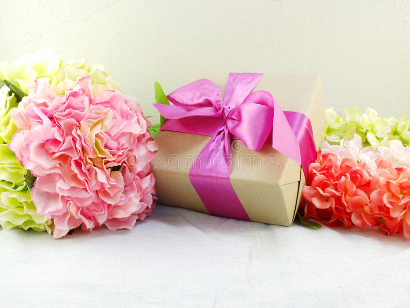 Gifts And Beautiful Bouquet Of Flowers For Mom Stock Image