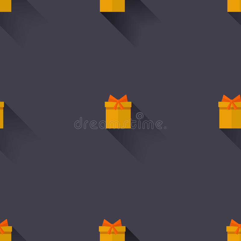 Gifts on a blue background. Vector seamless pattern. Yellow gifts on dark background stock illustration