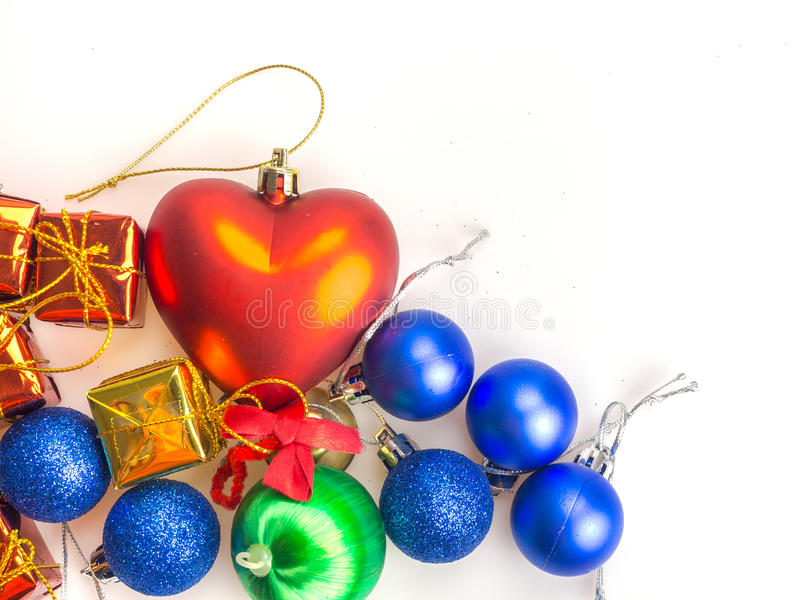Gifts of box and colorful balls royalty free stock photos