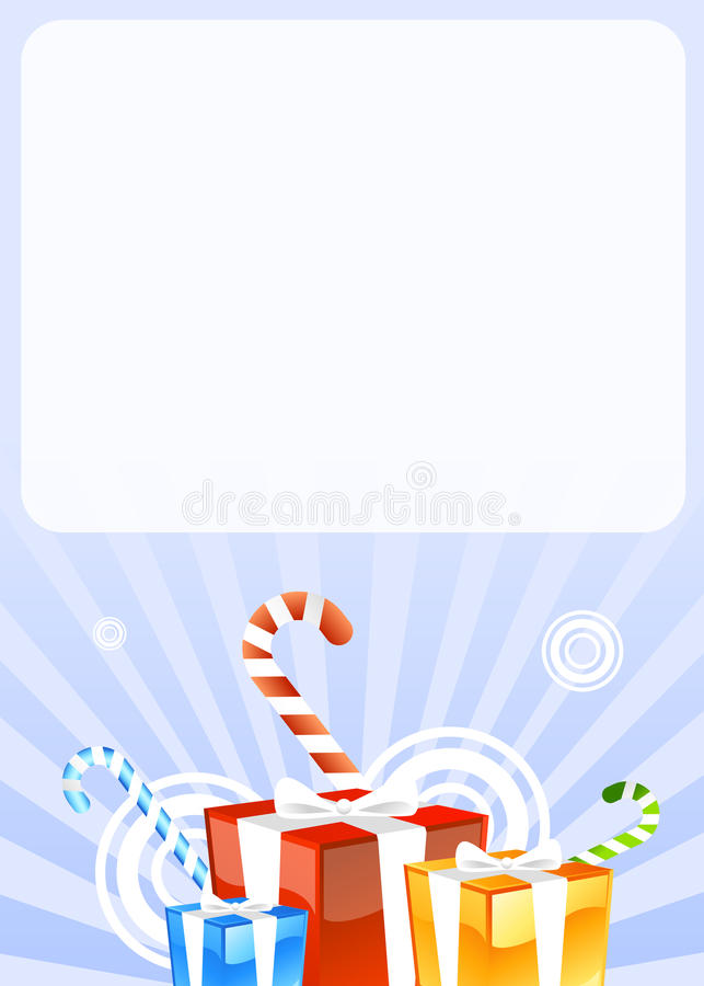 Gifts and candies greetings card. Vector illustration of greeting card with presents and gifts and candies for christmas or holidays or birthday stock illustration