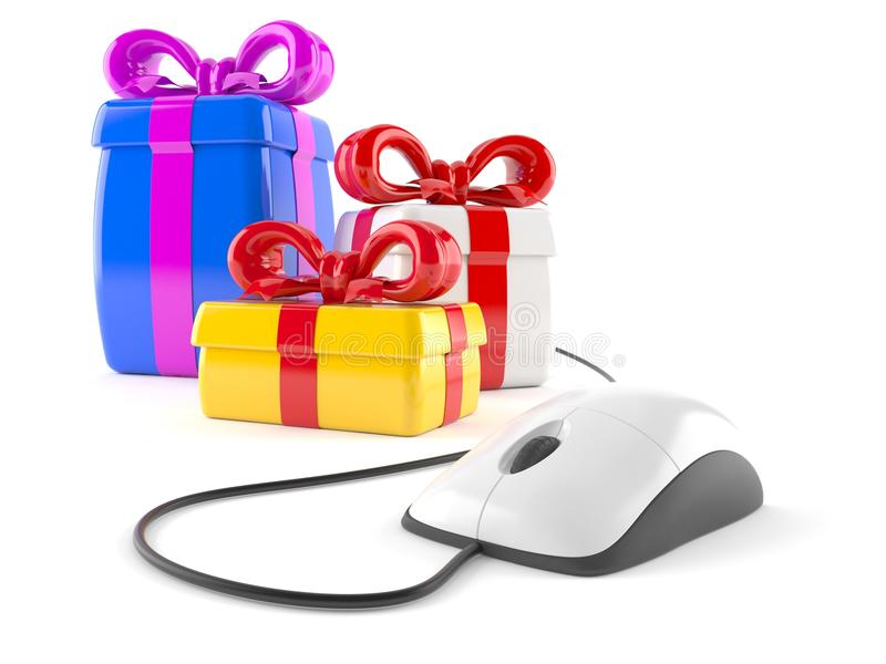 Gifts with computer mouse vector illustration