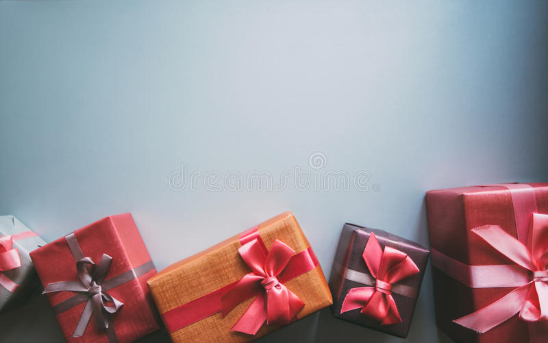 Gifts with copy space. Gifts with copy space top view stock photography