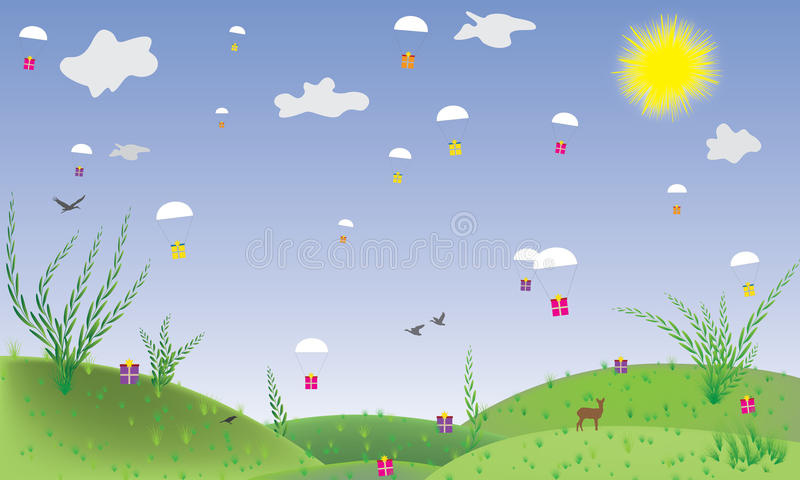 Gifts falling from the sky. Cartoon landscape where gifts fall out of the blue. The sun is shining. Birds fly royalty free illustration