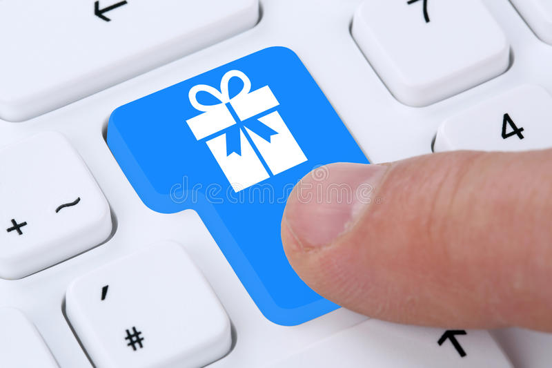 Gifts gift online shopping ordering internet shop. On computer royalty free stock image