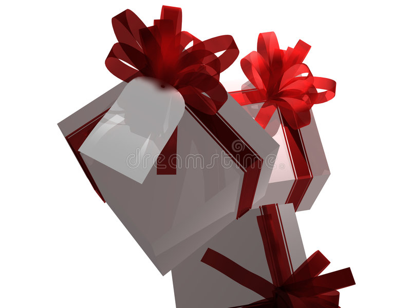 Gifts with gift tag. Computer generated image of several gifts with blank gift tag royalty free illustration