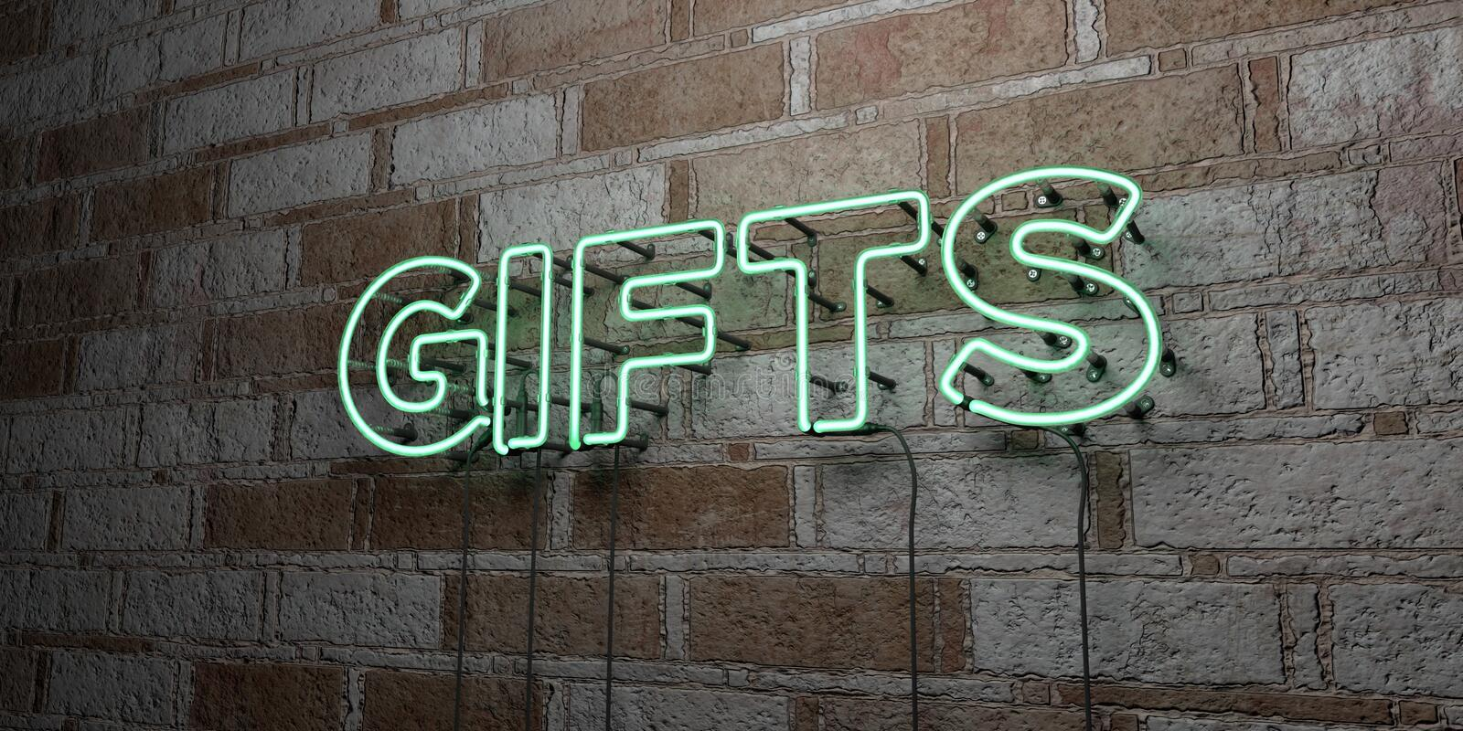 GIFTS - Glowing Neon Sign on stonework wall - 3D rendered royalty free stock illustration vector illustration
