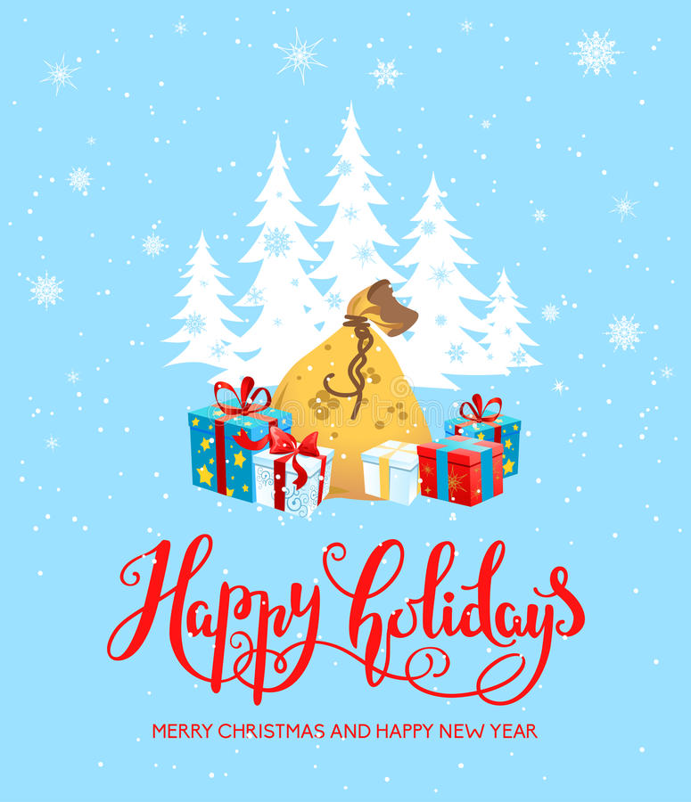 Gifts happy holiday card. Holiday Christmas background for banners, advertising, leaflet, cards, invitation and so on. Santa Claus, cartoon characters vector illustration